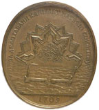 Medal given by Peter I of Russia to the architect of Taganrog's haven, Matthew Simon in 1709.